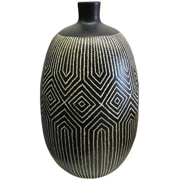 Black And White Patterned Vase Thailand Contemporary 1200