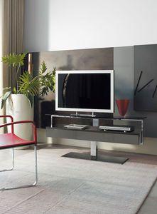 mobile TV moderno / girevole / in acciaio / in vetro | DESIGN ...