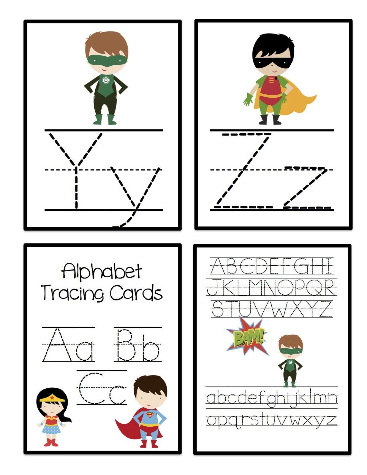 Super Hero Alphabet Tracing Cards Preschool Printables