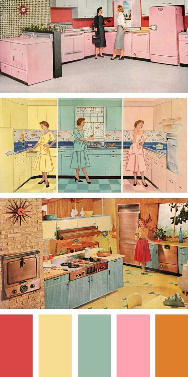 1950s Kitchen Colors Petal Pink Turquoise Green Stratford Yellow