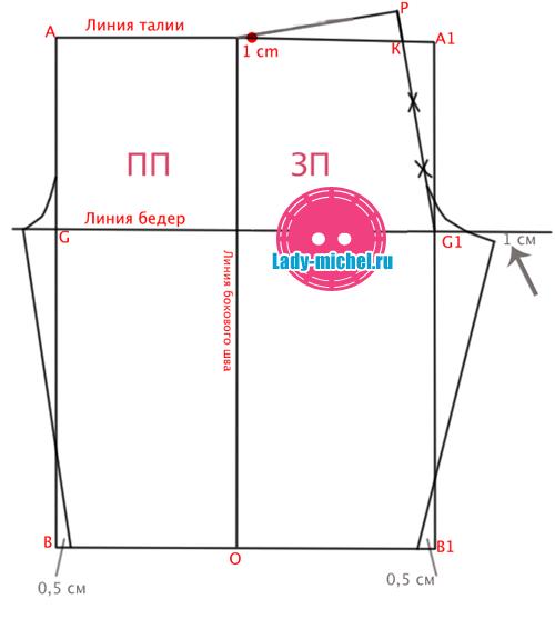 Построение выкройка штанов на резинке