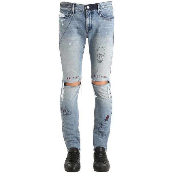 946844ce Rta Men 16.5cm Palm Springs Co-lab Denim Jeans (9.915.205 IDR) ❤ liked on  Polyvore featuring men's fashion, men's clothing, men's jeans, blue, mens  blue ...