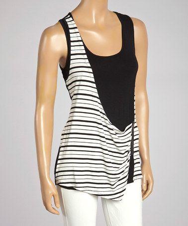 Another great find on #zulily! Black & White Stripe Zip Drape Neck Top by Rain #zulilyfinds