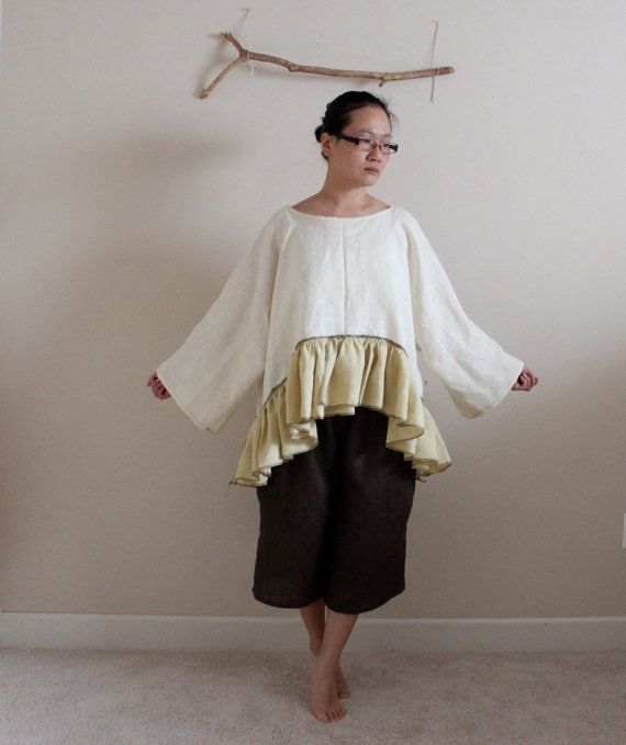 lagenlook ruffle linen outfit blouse with di annyschooecoclothing