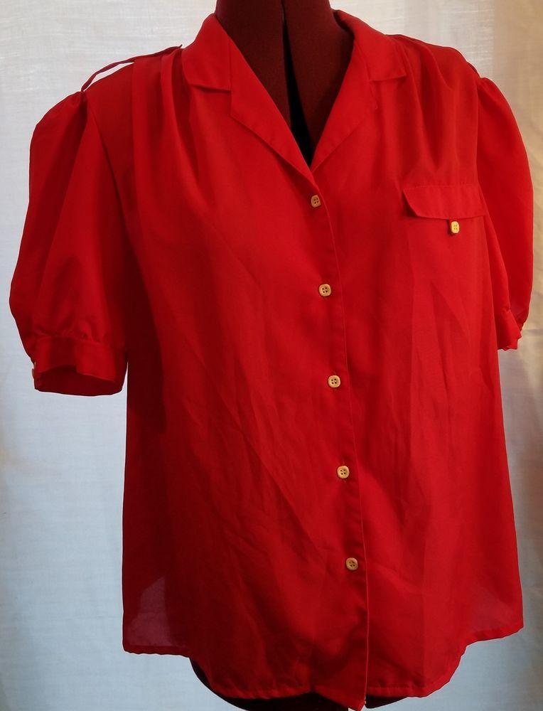 e0bf5b01 Alicia Size 38 Womens Blouse Red Button Down Short Sleeve #Alicia # ButtonDownShirt #All