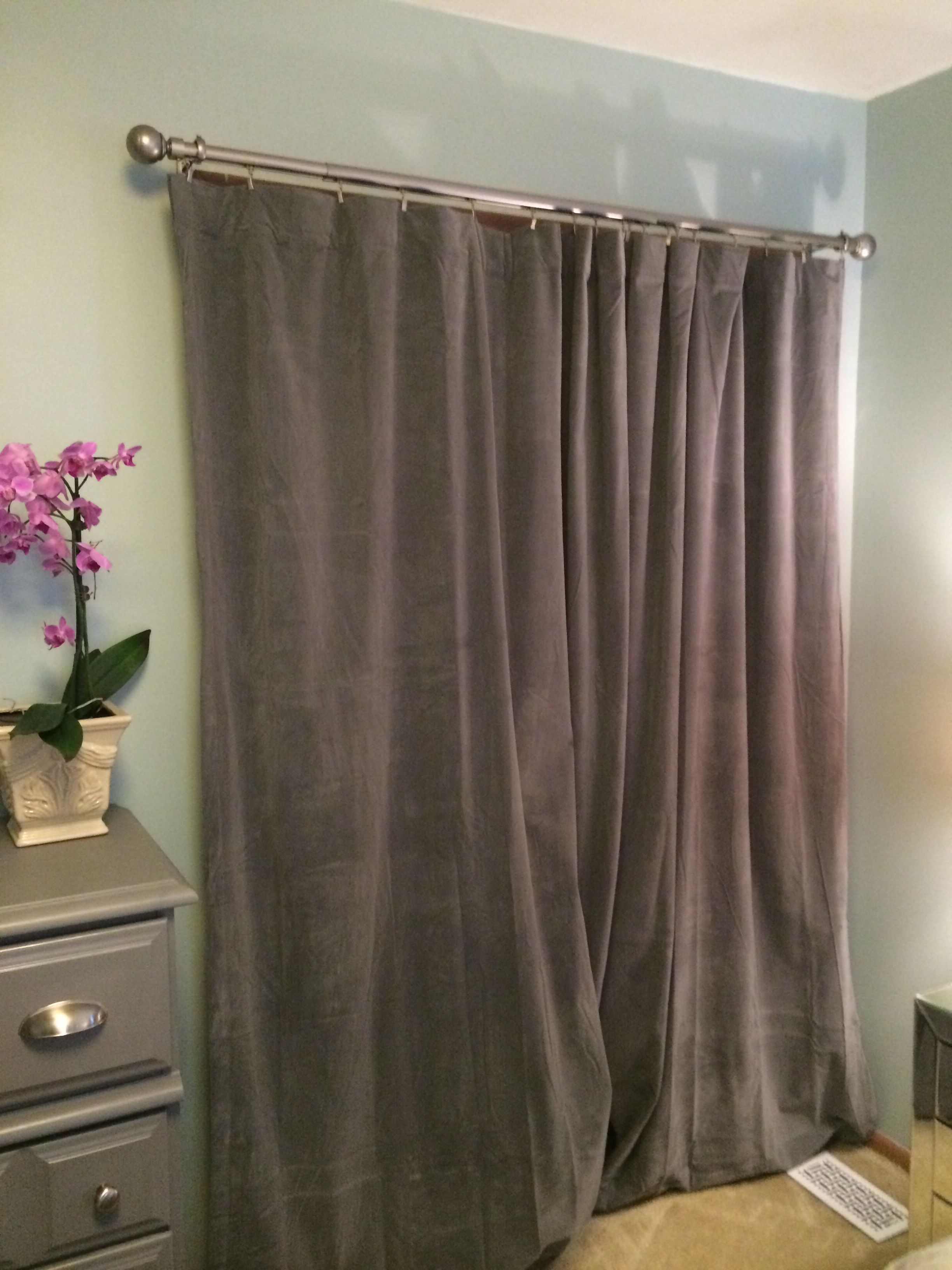 No More Dated Bi Fold Closet Doors Chic Grey Velvet Curtains Instead Installed On A Sleek Rod W Multitude Of Cool Little Clips