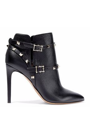 2739e83d83f4 VALENTINO WOMAN ROCKSTUD PEBBLED-LEATHER ANKLE BOOTS BLACK.  valentino   shoes