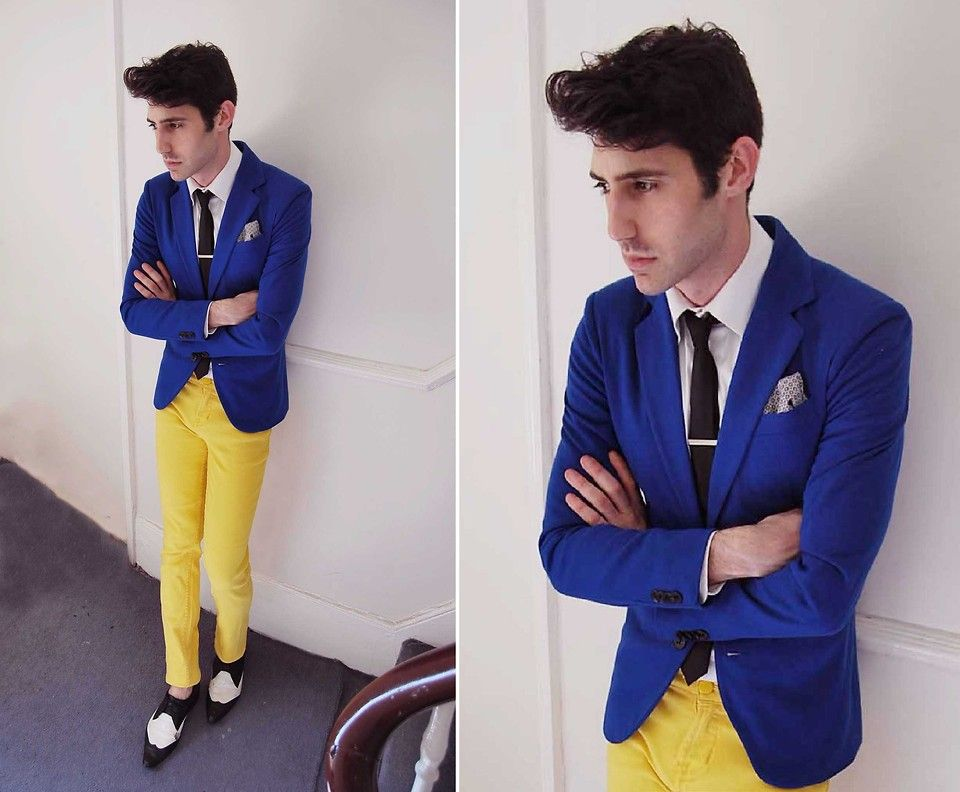 Click to Buy << Casual Style Blue Blazer Yellow Pants Man Suit Slim ...