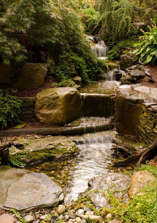 Wasser Garten Ideen Cool Stein Teich Landschaft Schöne