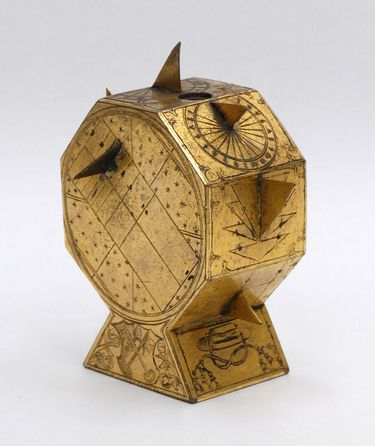 27. Polyhedral dial by Nicolaus Kratzer, London, c.1525  Type: instrument Inv. No. 54054 Source: MHS  The dial is unsigned but was made for Cardinal Wolsey (bearing his arms, the arms of York Minster and two representations of a cardinal's hat), almost certainly by Nicholaus Kratzer. He was lecturing at Corpus Christi College, Oxford in the 1520s, under Wolsey's patronage, on elementary astronomy, the construction of the astrolabe and Ptolemy's geography.