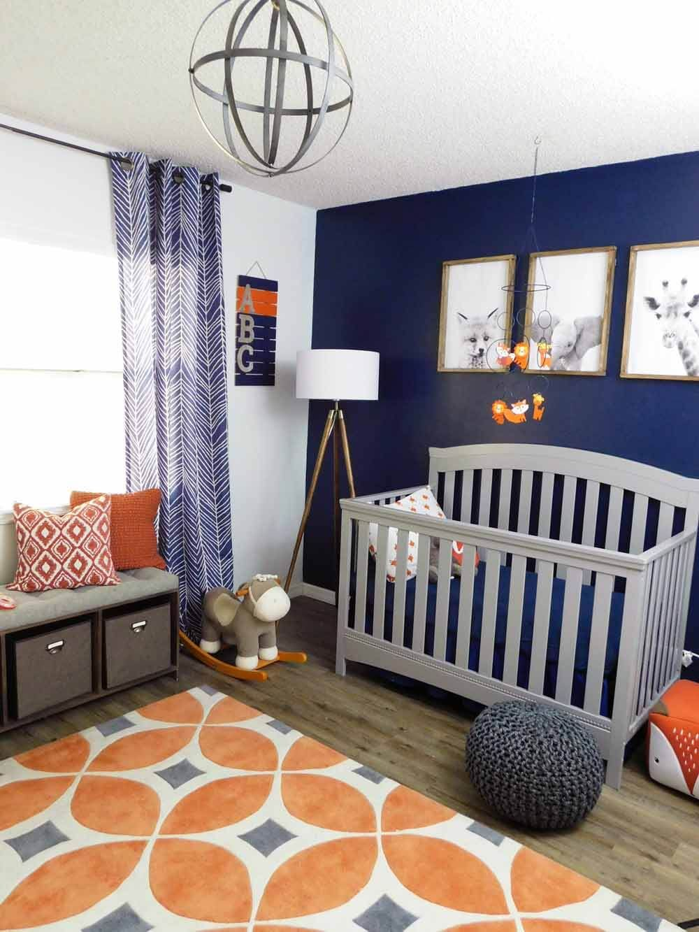 Navy, Gray and Orange Baby Room Reveal Baby room colors