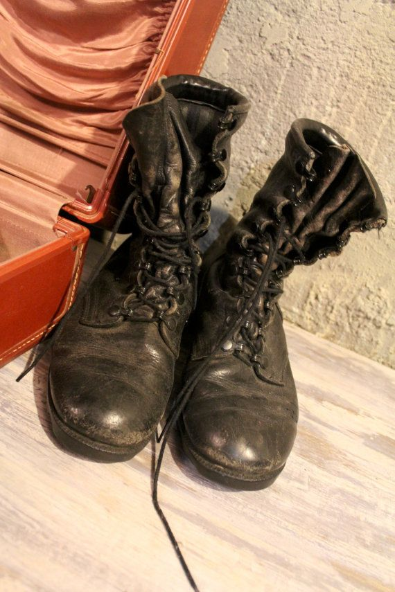698f6ee7213 Vintage 80s Punk Black Leather COMBAT BOOTS Mens Women hiking jungle Jumper  Military ANKLE Lace Up Grunge Hard Core Biker Booties 7 1 2 Wide by  HarlowGirls ...