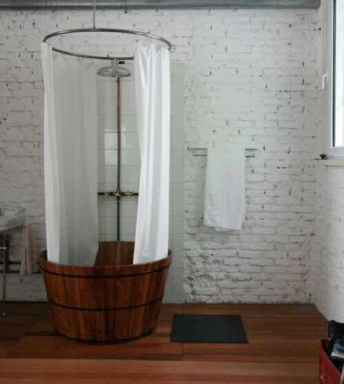 Whiskey barrel shower hopeful humble abode pinterest for Whiskey barrel bathtub