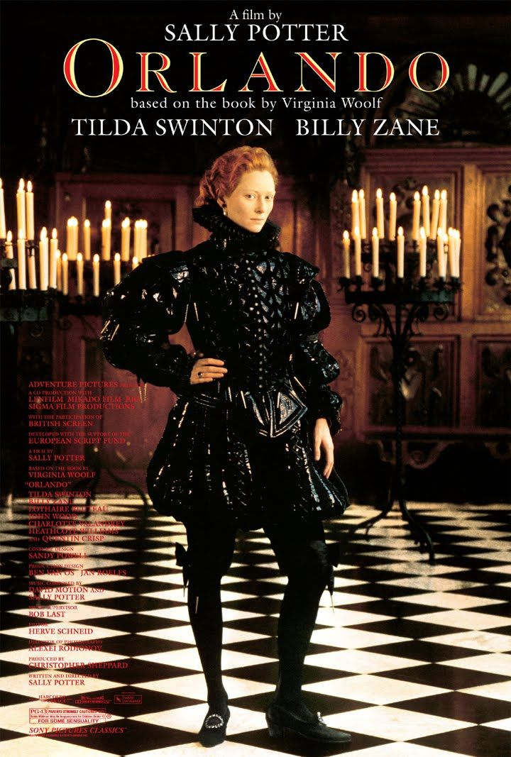 "Tilda Swinton in ""Orlando"" based on the book by Virginia Woolf. The 1992 film starred Tilda Swinton as Orlando, Billy Zane as Marmaduke Bonthrop Shelmerdine, and Quentin Crisp as Queen Elizabeth. It was directed by Sally Potter. The character Orlando lives from the time of Elizabethan England to the present day, changing from a man to a woman in this clever story."