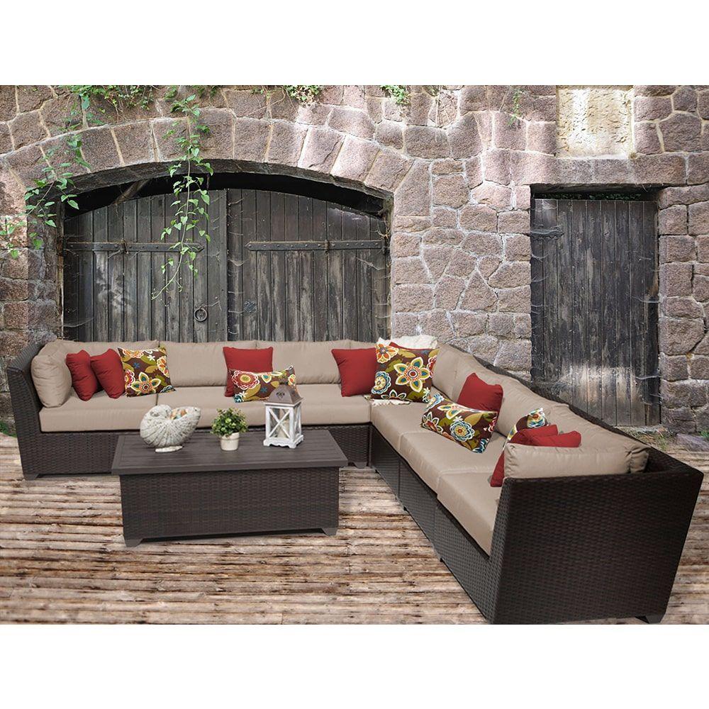 TK Classics Barbados 8 Piece Outdoor Wicker Patio Furniture Set 08a (Size), Tan, Size 8-Piece Sets (Acrylic)