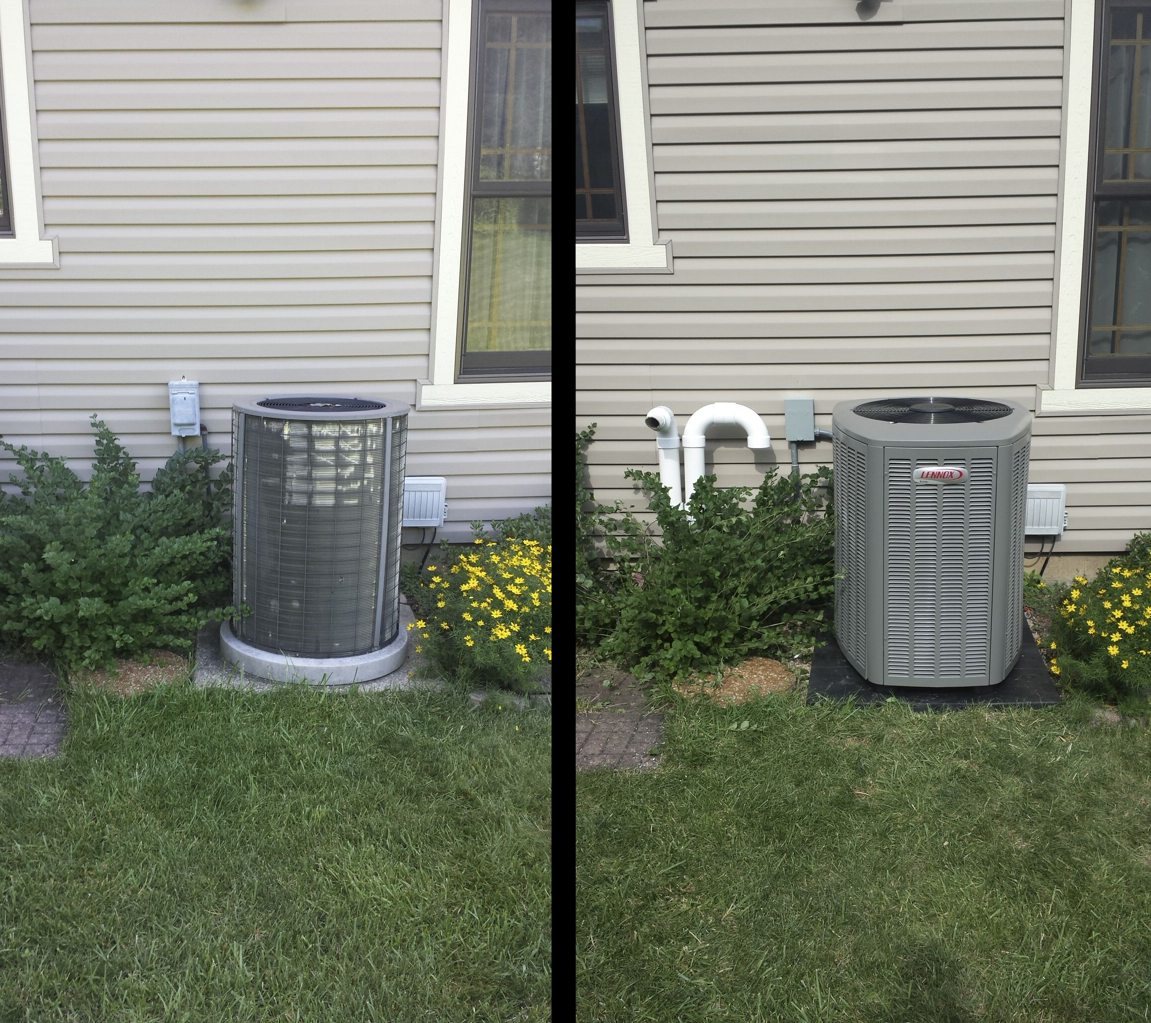 A before and after shot at the home of another satisfied