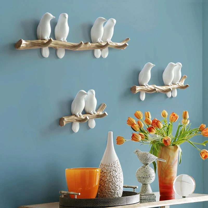 Conversation Birds Wall Hangers By Frank Clarke 11th And York Bird Decor Bedroom Wall Hangings Hanger Design Decorative wall hooks for hanging
