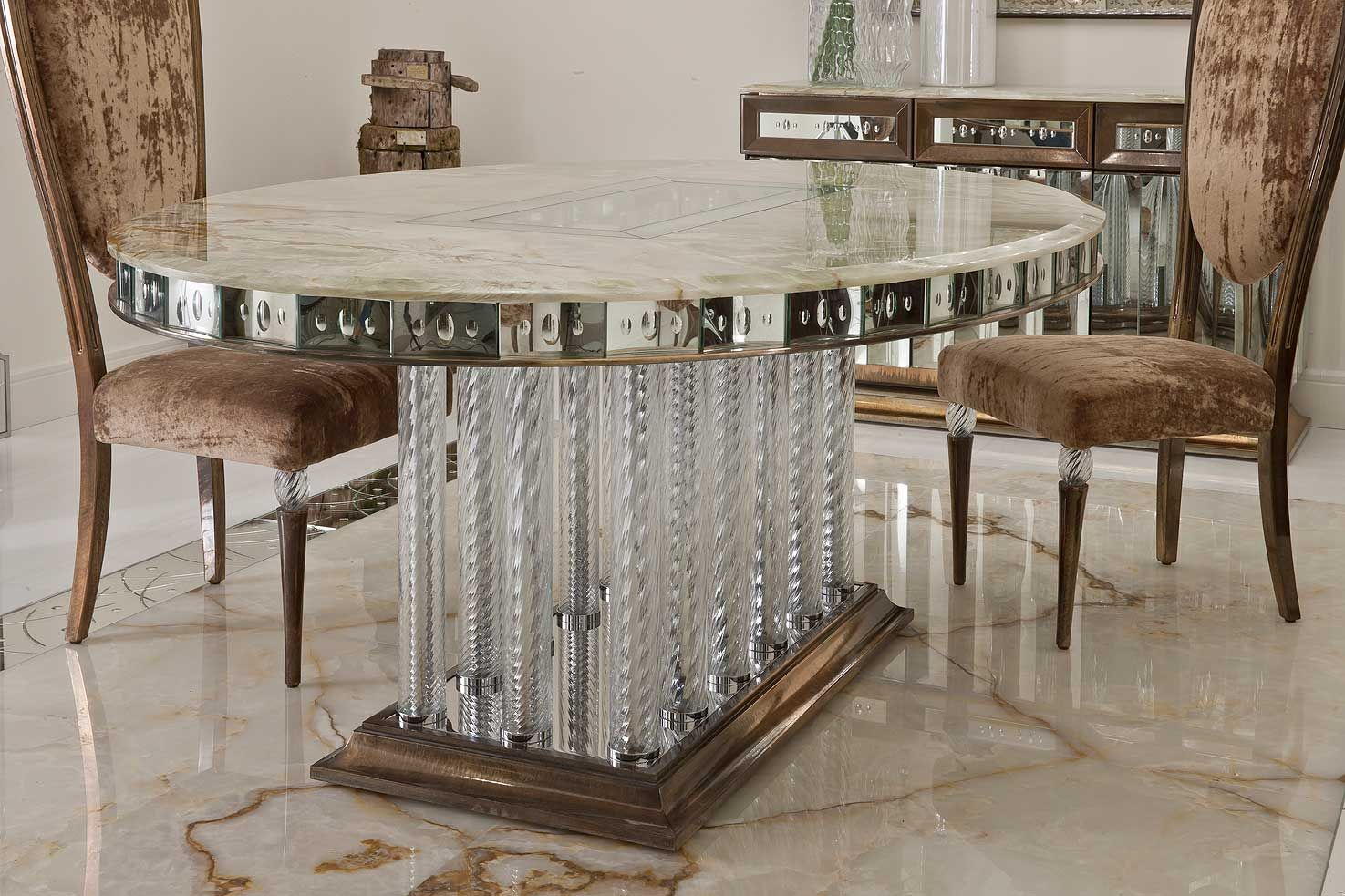"""Oval table with fourteen legs in """"torchon"""" glass with top ..."""