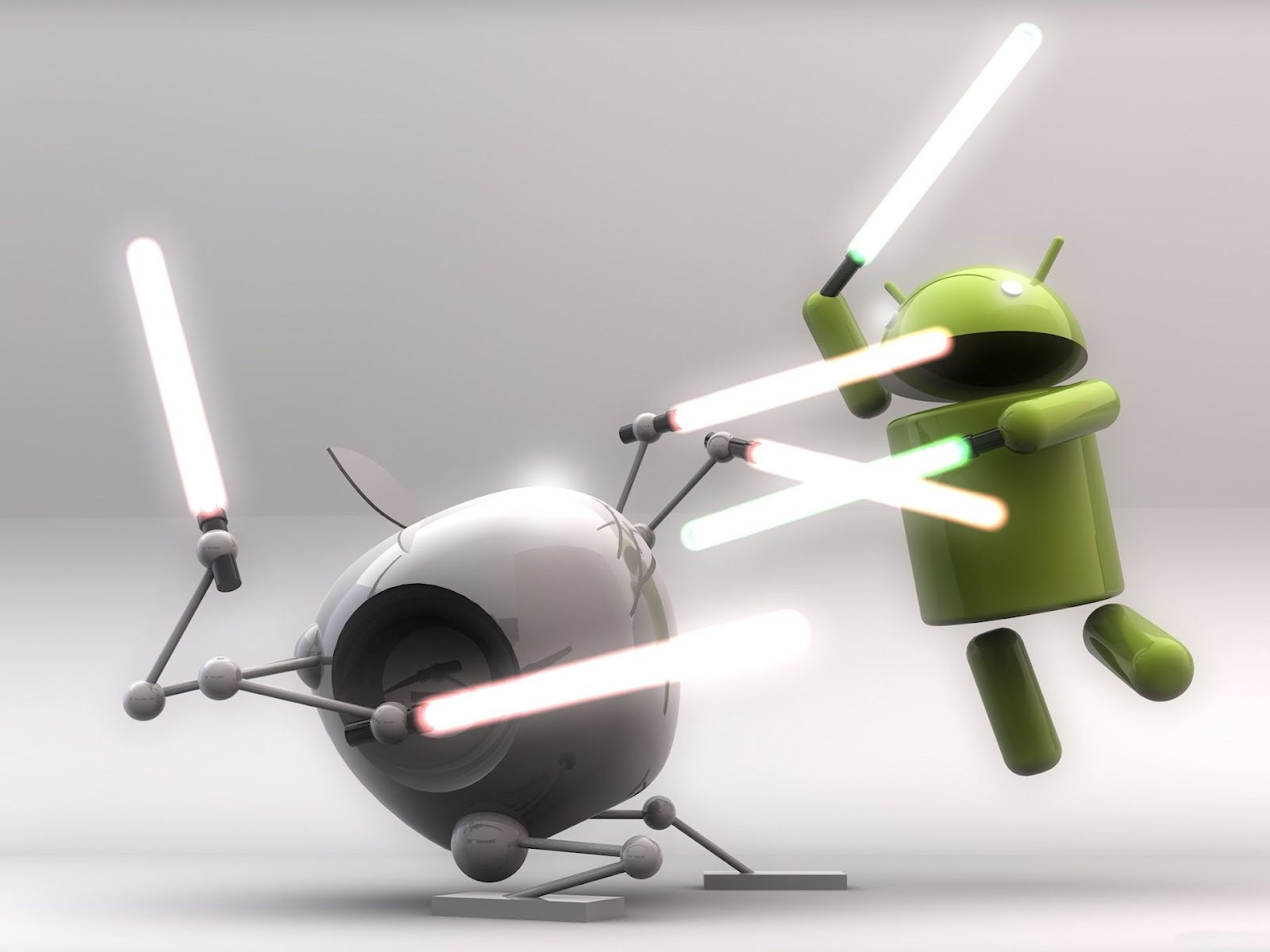 uberfuzz android vs apple with lightsabers hd wallpaper