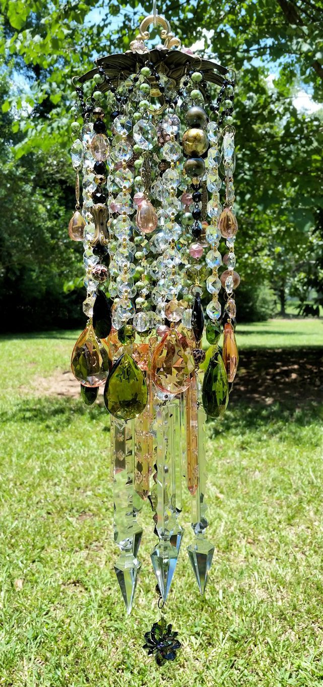 Bohemian Antique Crystal Wind Chime, Green and Rose Crystal Wind ...