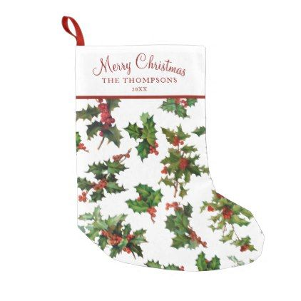 abe2da4844e Festive Vintage Style Holly Small Christmas Stocking - holidays diy custom  design cyo holiday family