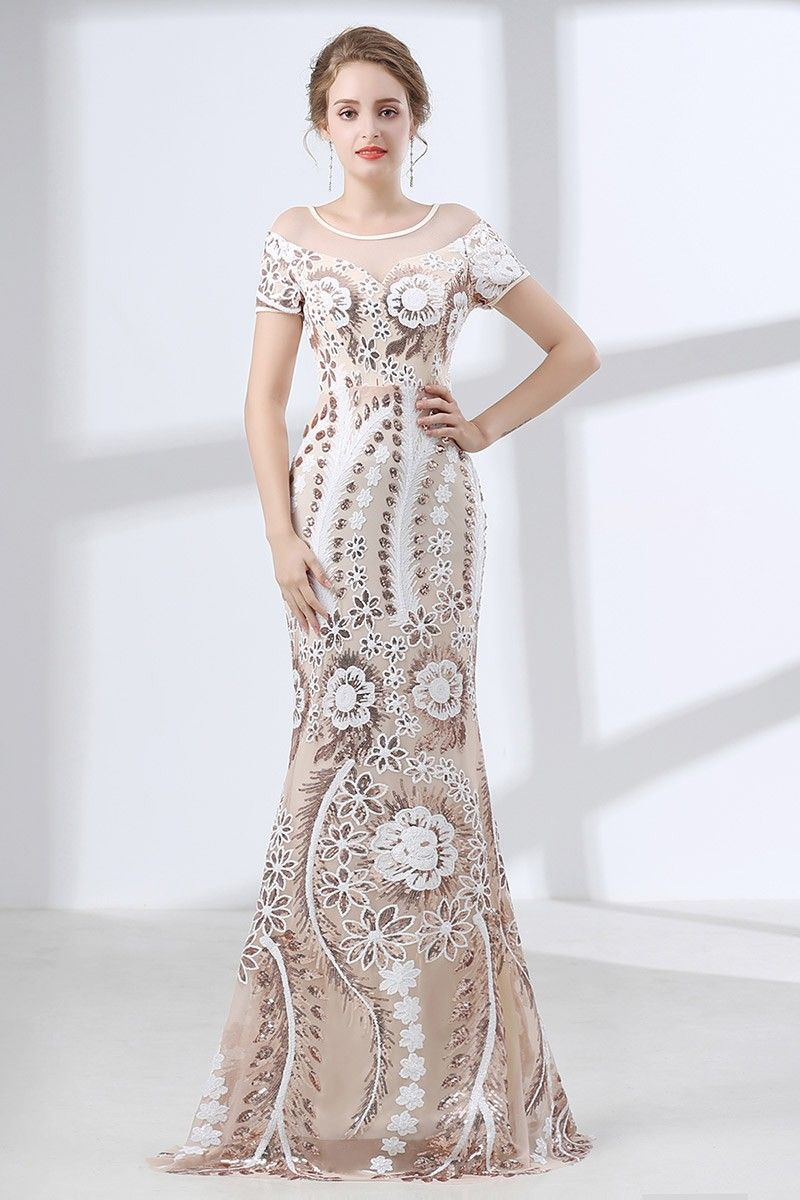 Modest fitted floral sequined prom dress with short sleeves ch