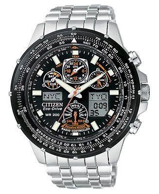 Citizen Watch Men S Eco Drive Skyhawk Atomic Stainless Steel Bracelet 45mm Jy0000 53e Macy S Mens Watches Citizen Titanium Watches Watches For Men