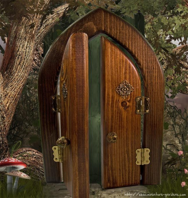 "LARGE 9/"" FAIRY//HOBBIT MAGICAL DOORWAY FAIRY GARDEN ORNAMENT STUNNING PIECE NEW"