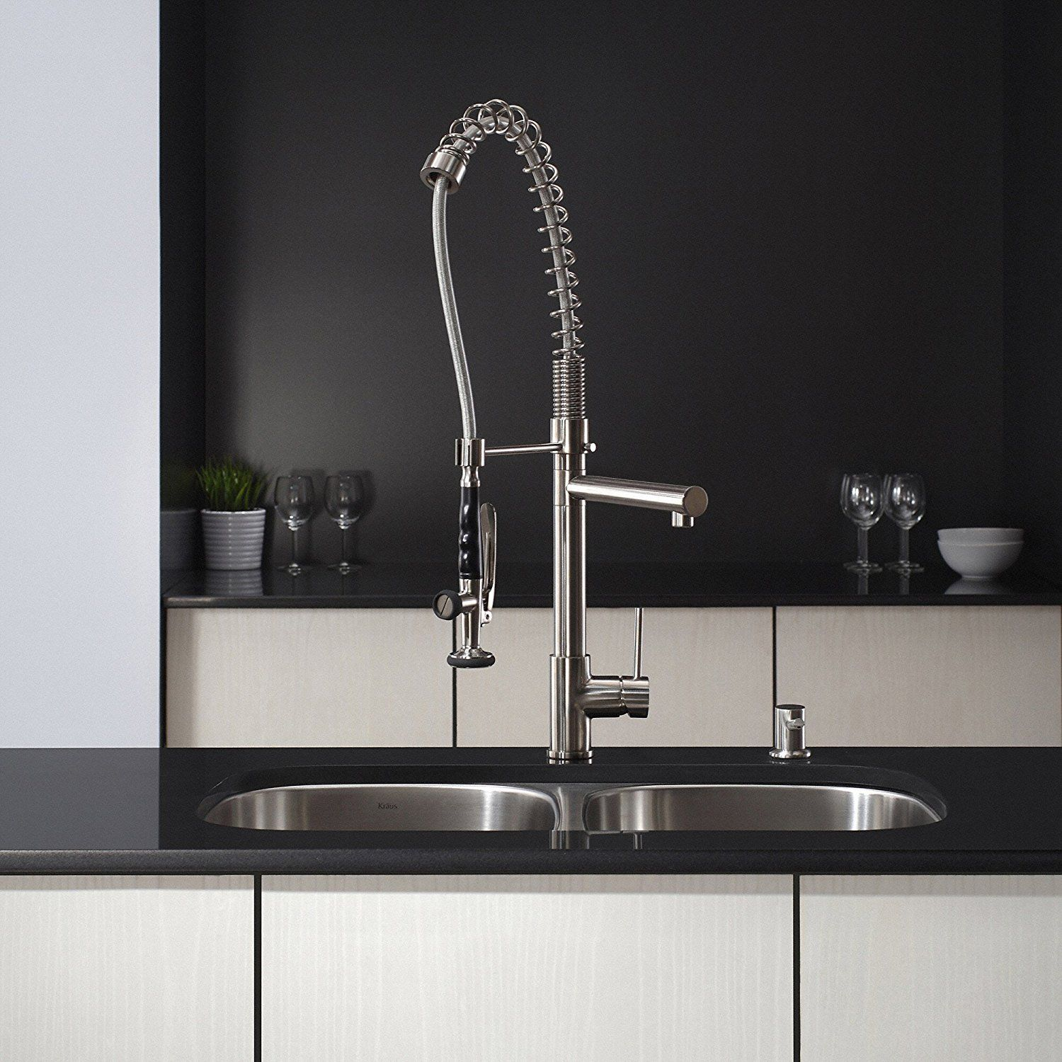 Kraus KPF 1602SS Single Handle Pull Down Kitchen Faucet Commercial Style  Pre Rinse, Stainless Steel