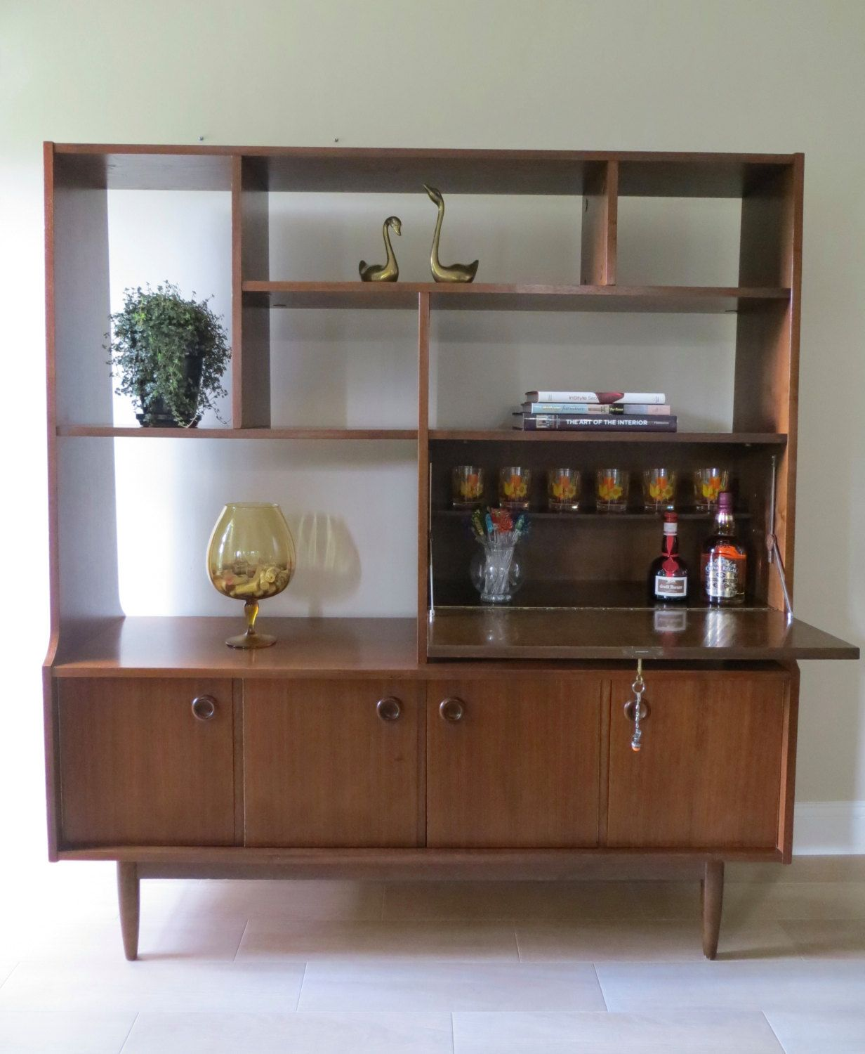 mid century modern wall unit room divider secretary cabinet drop leaf desk or bar compartment bookshelf cabinet bookcase usd by