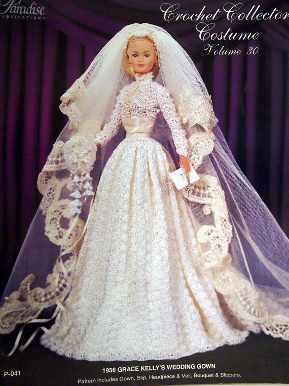 Grace kelly 39 s wedding gown crochet collector costume by for How to make a barbie wedding dress