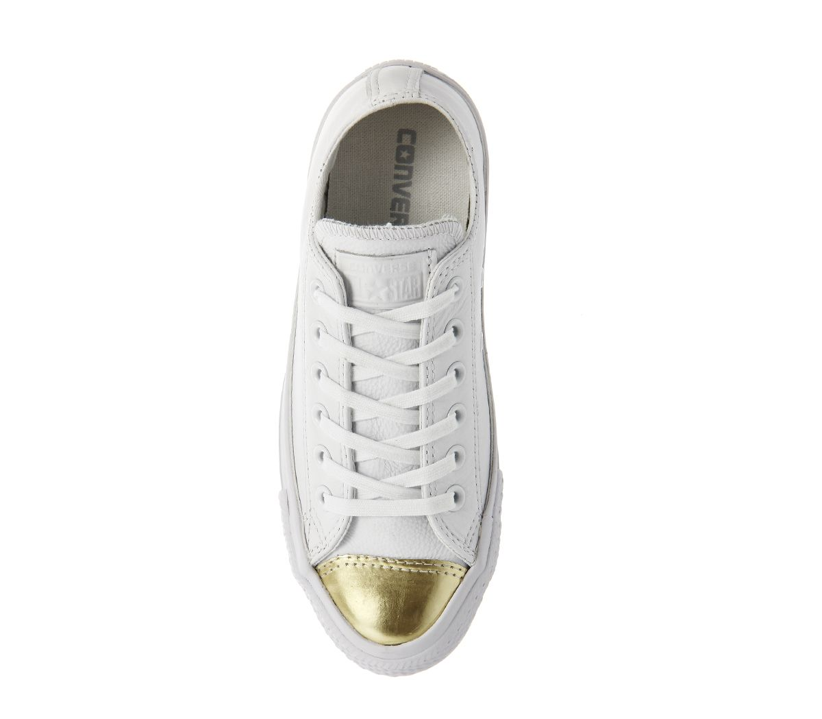 Buy White Mono Chrome Gold Toe Converse All Star Low Leather Trainers from  OFFICE.co