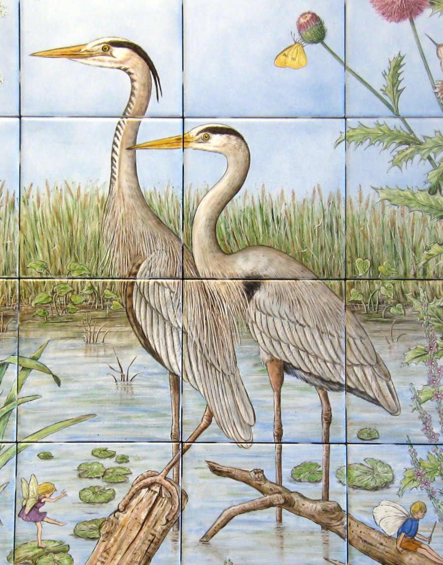 Detailed Close Up Of Tile Mural With Mating Pair Great Blue Herons Painted Tileshand