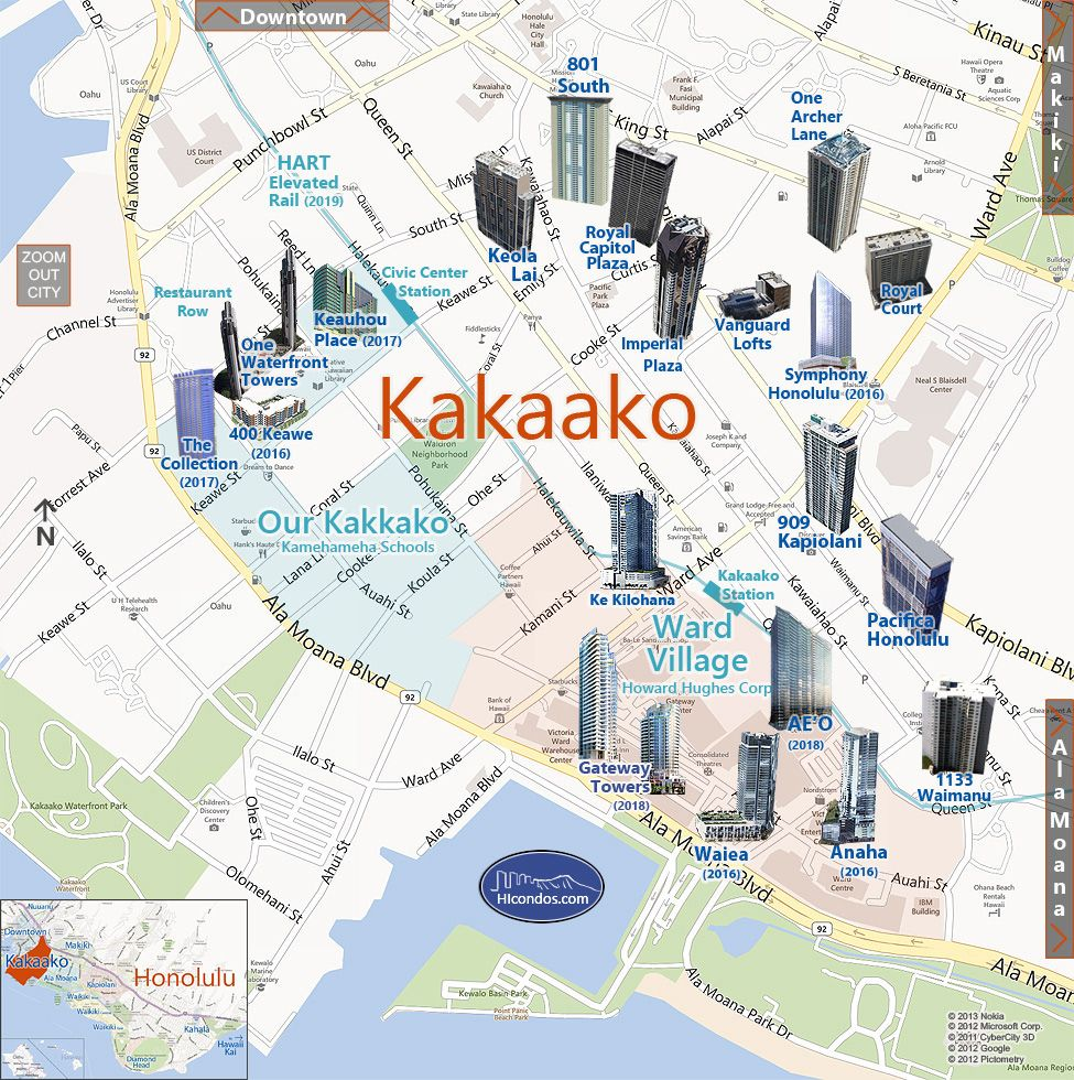 Kakaako Condos: Honolulu, Hawaii Condo Map | One Waterfront Place ...