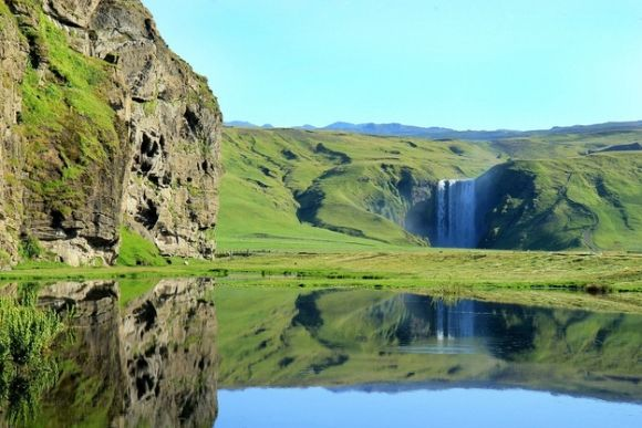The Skogafoss waterfall in southern Iceland