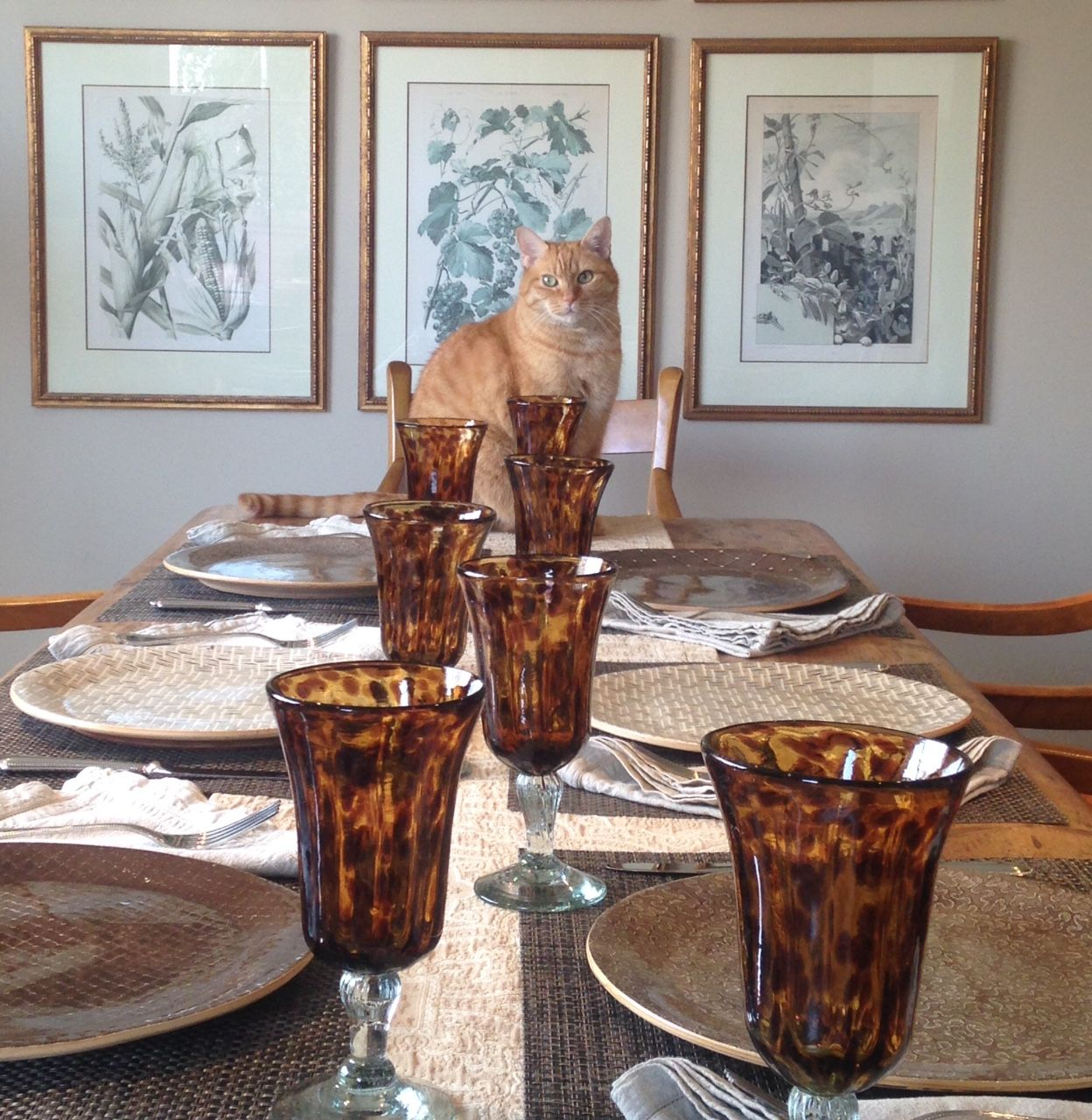Otis overseeing Ellen's table setting game...