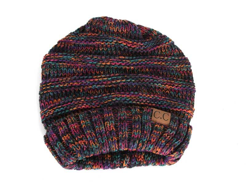 77af860fdcb C.C. Exclusives Cable Knit Oversized Beanie in Black Multi Color HAT-6242 -BLKMULTI