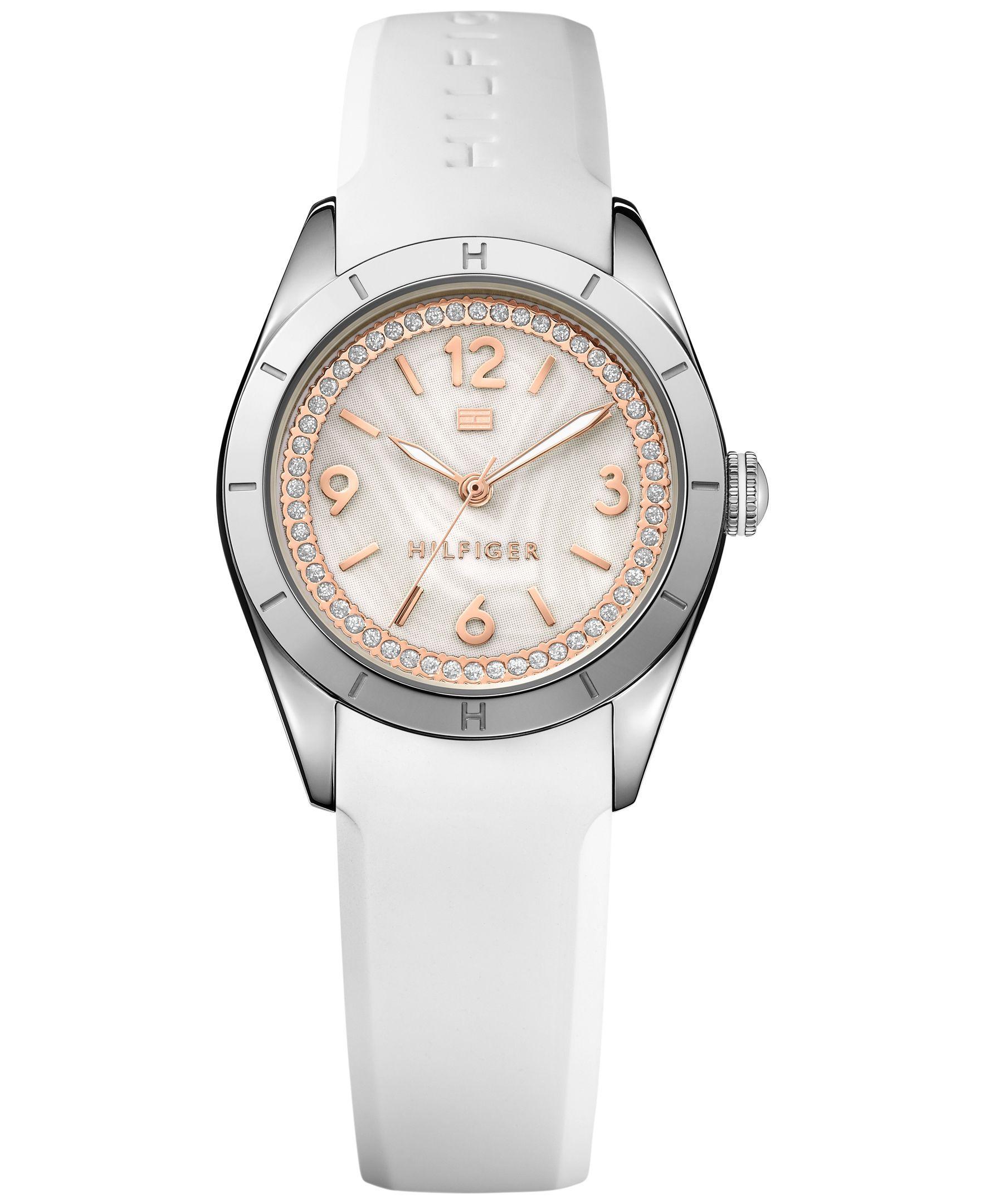 Tommy Hilfiger Women's White Silicone Strap Watch 30mm