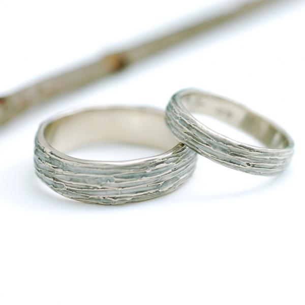 I Love Handmade 14k Palladium White Gold Tree Bark Wedding Rings by