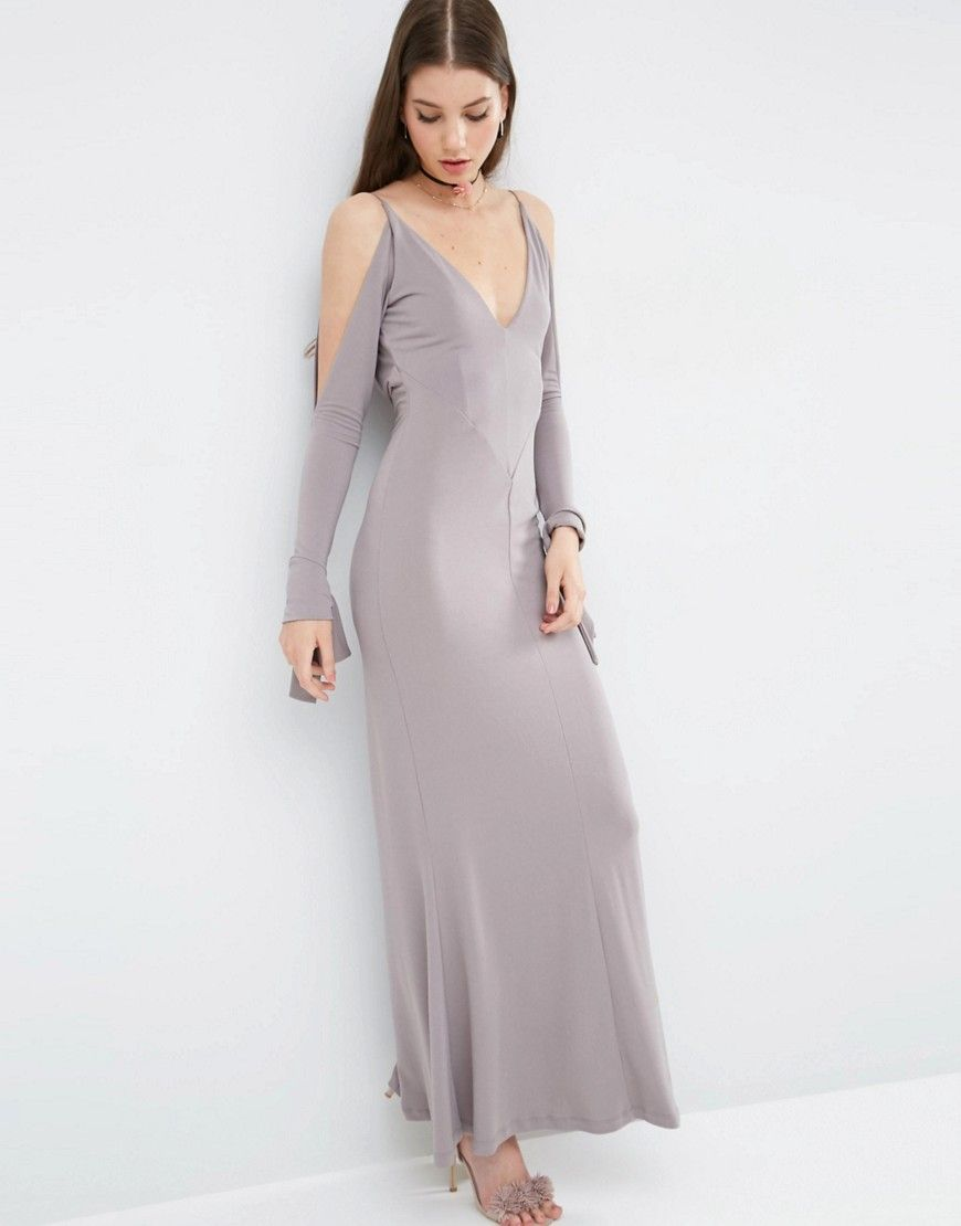 Maxi dresses to wear to a wedding  V Front Seamed Maxi Dress With Cold Shoulder  Pinterest  Cold