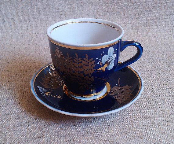 Espresso Cups Blue Small Coffee Cup Vintage Porcelain Saucer Calyx With Birthday Gift Women Mom Cobalt Gold
