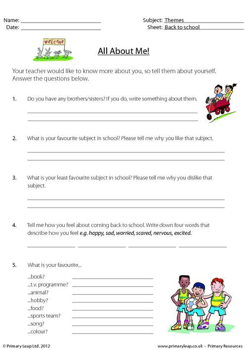 PrimaryLeap.co.uk Back to school All about me (2