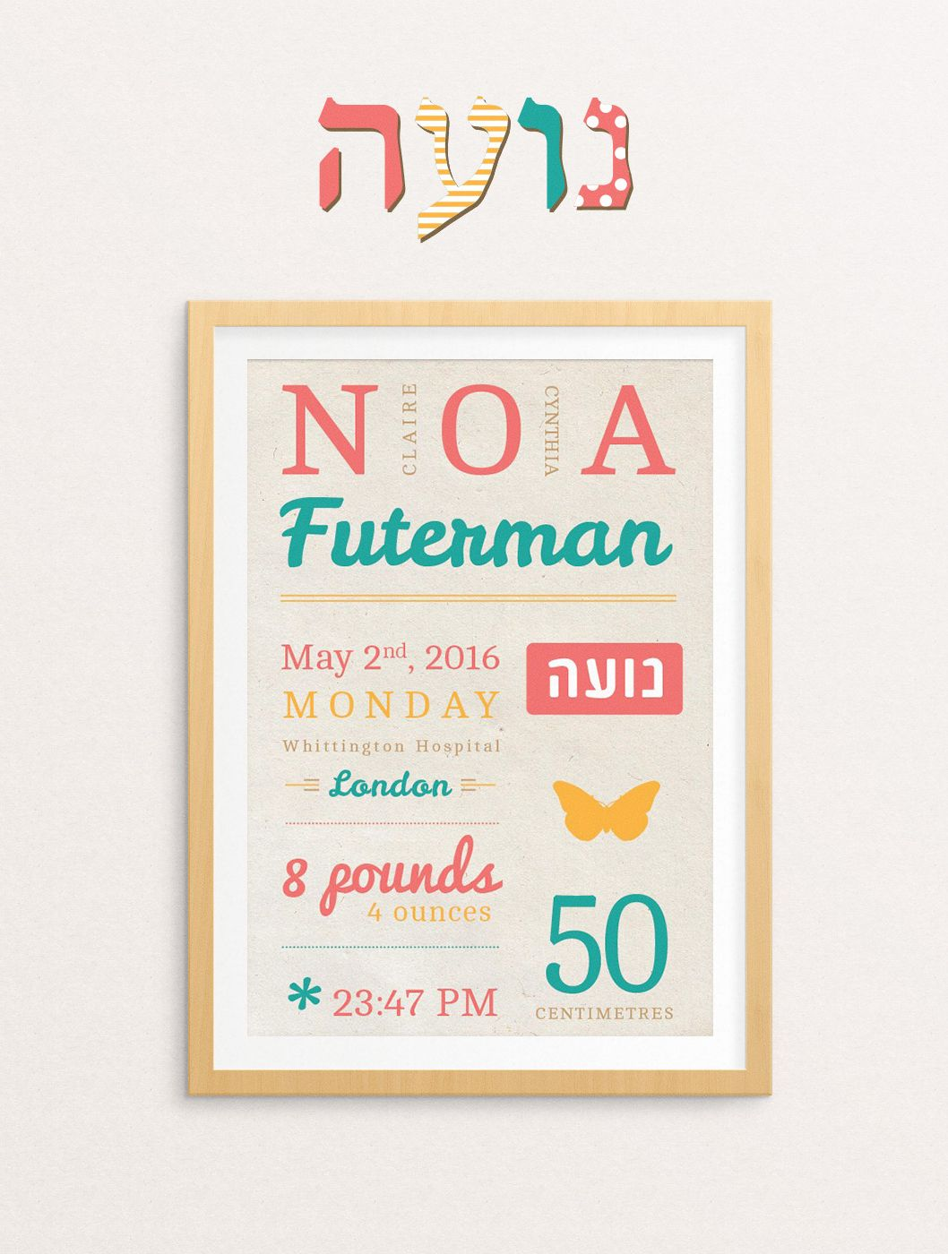 Such a cute gift for a jewish baby naming ceremony birth stats such a cute gift for a jewish baby naming ceremony birth stats design including the negle Image collections