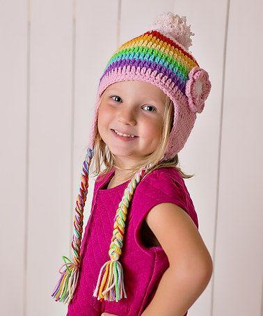 Rainbow Flower Snow Bunny Earflap Beanie crochet inspiration ...