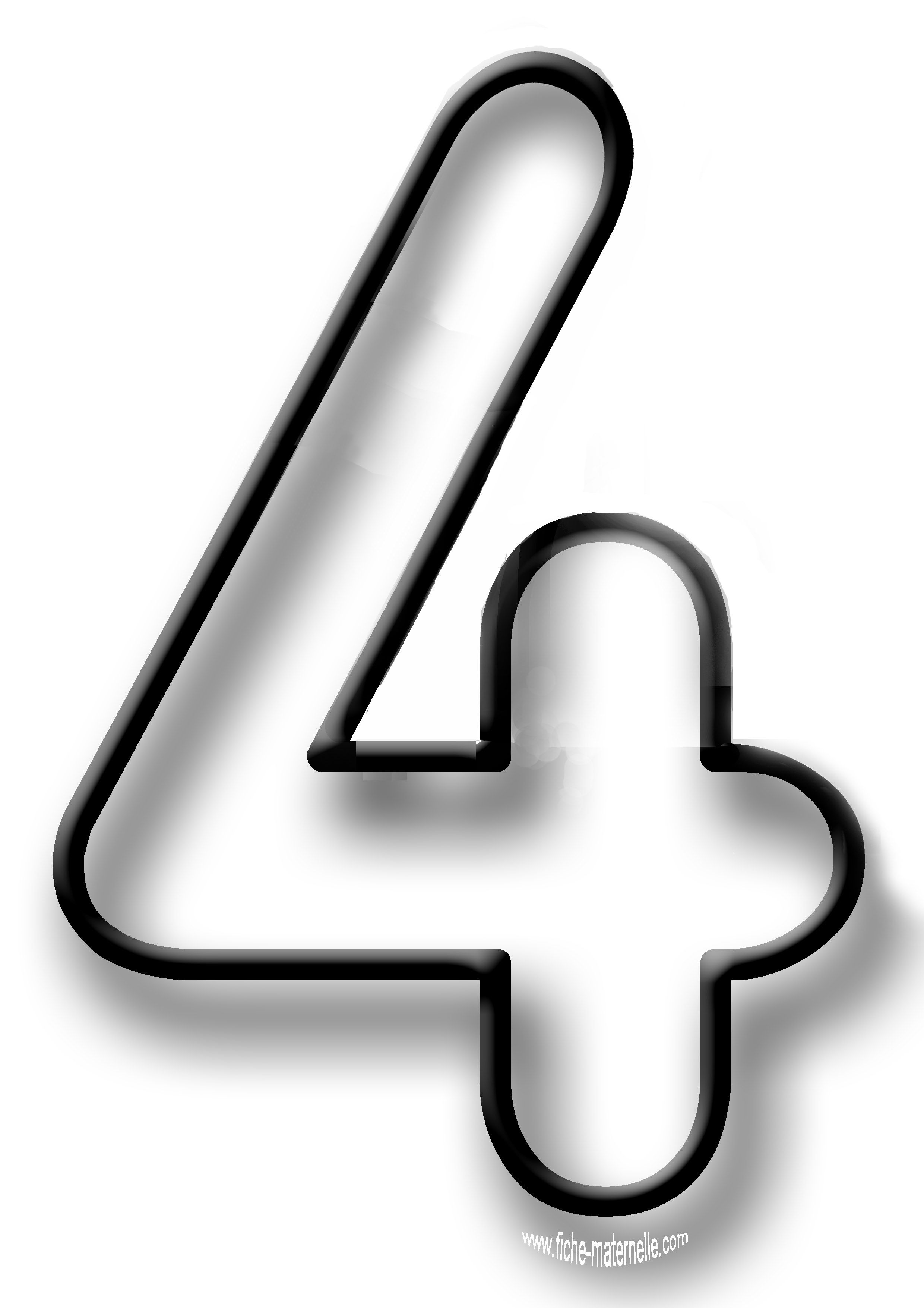 Coloriage des chiffres 04 four coloriage chiffre chiffre a imprimer chiffre - Dessin de chiffre ...