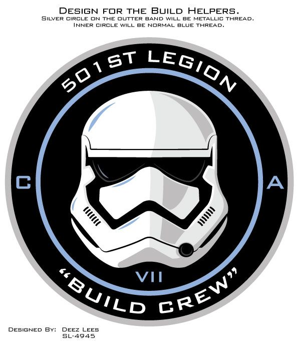 Patch design for the Build Crew who helped make the new First Order Stormtrooper armour.