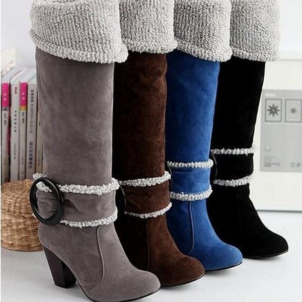 1fc894389e28 New arrival 2015 high quality fashion Snow Boots Big size 34-43 Square High  Heels Knee High Winter Shoes for Women Sexy Warm Fur Buckle Fashion Boot