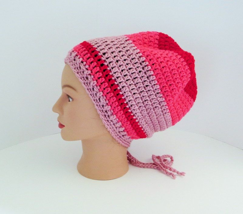 Red Pink Rose Extra Slouchy Hat Rasta Tam Super Slouchy Hat
