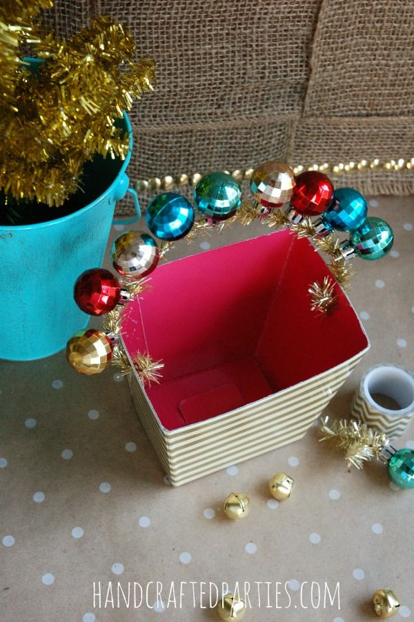 diy mini ornament gift box handles handcrafted partiesfor stocking stuffers baked goods or party favor packaging