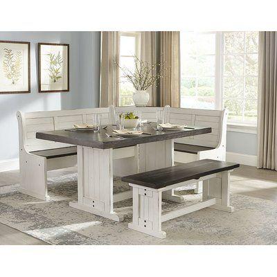 August Grove® Villepinte 4 - Piece Cedar Solid Wood Breakfast Nook Dining Set